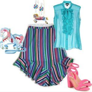 Carousel Stripe Asymmetrical Skirt